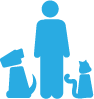 Person with a dog and cat - Community Fundraising Icon